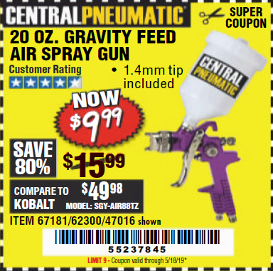 Harbor Freight 20 OZ. GRAVITY FEED SPRAY GUN coupon