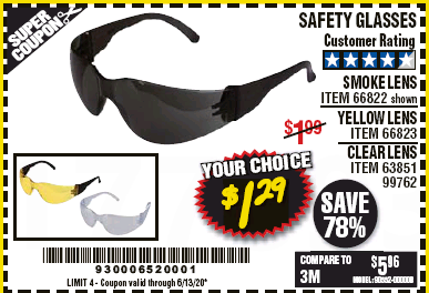 Harbor Freight SAFETY GLASSES - VARIOUS COLORS coupon