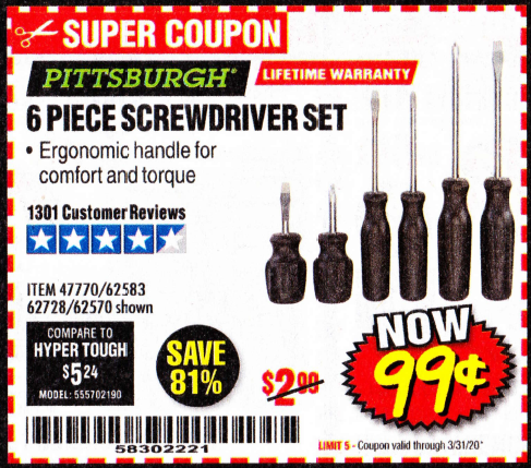 www.hfqpdb.com - PITTSBURGH 6 PIECE SCREWDRIVER SET Lot No. 47770/62583/62728/62570
