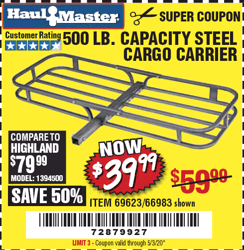 Harbor Freight 500 LB. CAPACITY STEEL CARGO CARRIER coupon