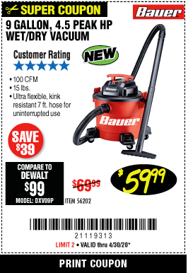 Harbor Freight 9 GALLON, 4.5 PEAK HP WET/DRY VACUUM coupon
