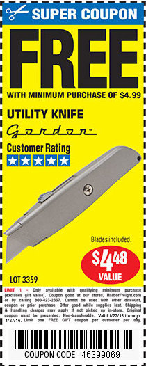 Harbor Freight Tools Coupon Database Free Coupons 25 Percent Off Coupons Toolbox Coupons Utility Knife
