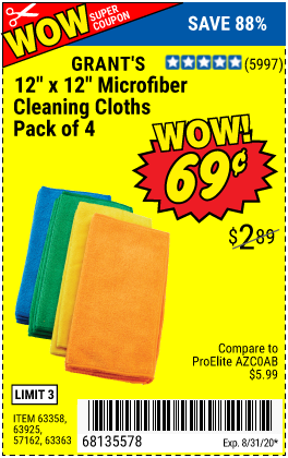 "www.hfqpdb.com - 12"" X 12"" MICROFIBER CLEANING CLOTHS, PACK OF 4 Lot No. 63358,63925,57162,63363"