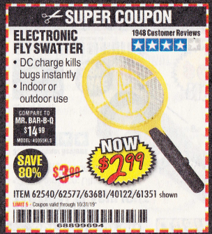 Harbor Freight ELECTRIC FLY SWATTER coupon