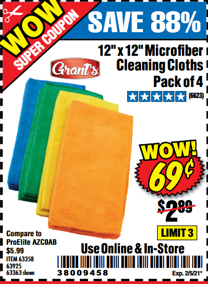 www.hfqpdb.com - GRANT'S MICROFIBER CLEANING CLOTH 12 IN X 12 IN, 4 PK Lot No. 63358, 63925, 57162, 63363