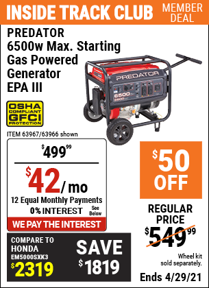 www.hfqpdb.com - PREDATOR 6500W MAX. STARTING GAS POWERED GENERATOR Lot No. 63967, 63966