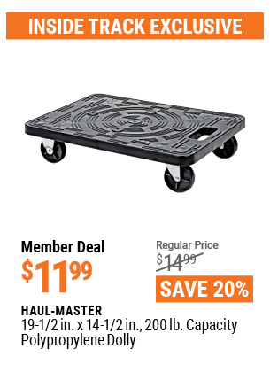 www.hfqpdb.com - HAUL-MASTER 19-1/2IN. X 14 1/2IN., 200LB. CAPACITY POLYPROPYLENE DOLLY Lot No. 95353
