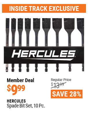 www.hfqpdb.com - HERCULES SPADE BIT SET, 10 PC. Lot No. 63388