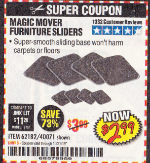 Harbor Freight MAGIC MOVER FURNITURE SLIDERS coupon