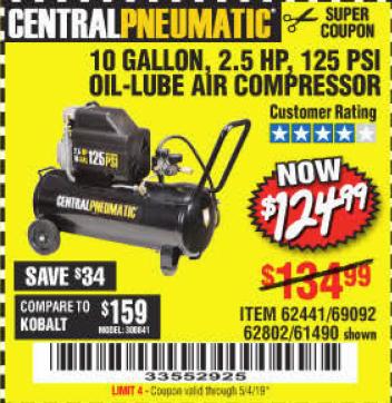 harbor freight air compressor coupon 2019