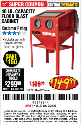 Harbor Freight 40 LB. CAPACITY FLOOR BLAST CABINET coupon