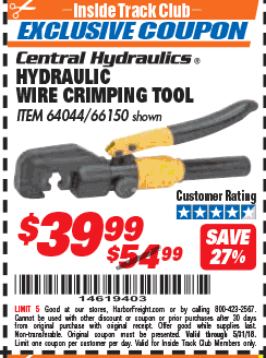 Harbor Freight HYDRAULIC WIRE CRIMPING TOOL coupon