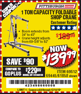 Harbor Freight 1 TON CAPACITY FOLDABLE SHOP CRANE coupon
