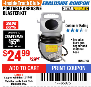Harbor Freight PORTABLE ABRASIVE BLASTER KIT coupon