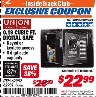 Harbor Freight 0.19 CUBIC FT. ELECTRONIC DIGITAL SAFE coupon