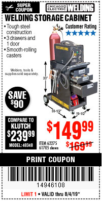 Harbor Freight WELDING STORAGE CABINET coupon