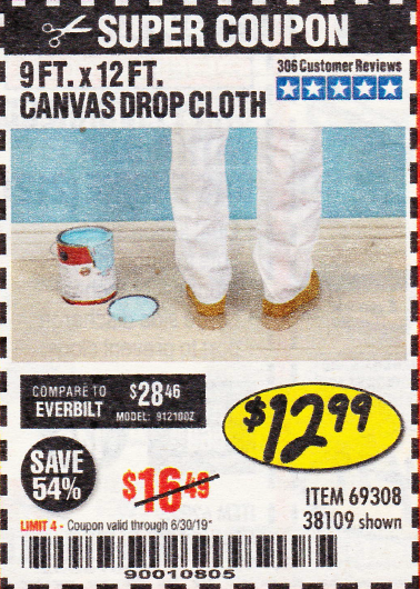 Harbor Freight 9 FT. x 12 FT. CANVAS DROP CLOTH coupon