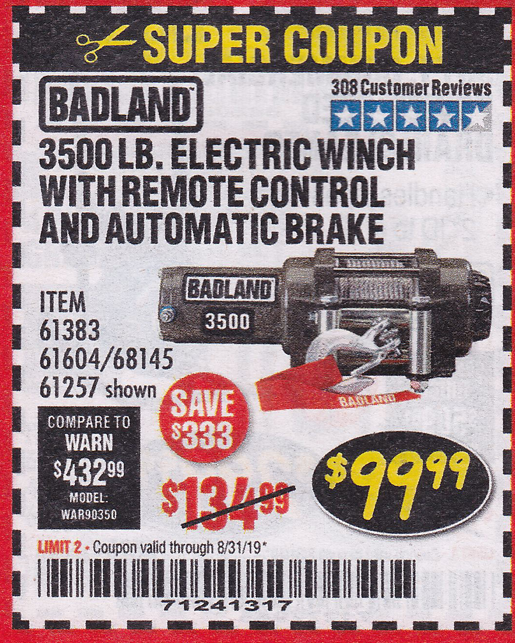 Harbor Freight 3500 LB. ELECTRIC WINCH WITH REMOTE CONTROL AND AUTOMATIC BRAKE coupon