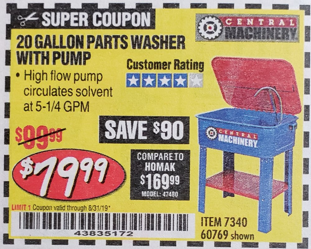 www.hfqpdb.com - 20 GALLON PARTS WASHER WITH PUMP Lot No. 7340/60769/94702