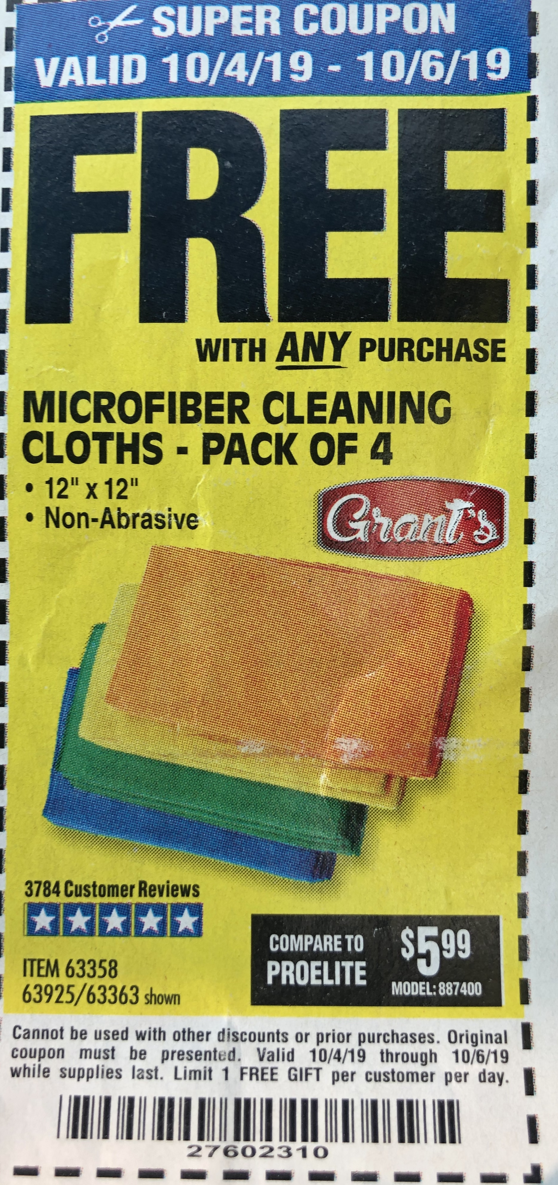 www.hfqpdb.com - MICROFIBER CLEANING CLOTHS PACK OF 4 Lot No. 69678/63358/63363/68440/63925
