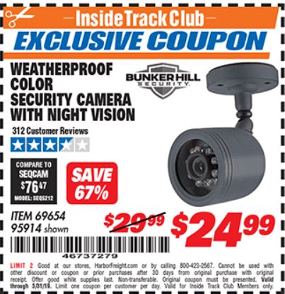 www.hfqpdb.com - WEATHERPROOF COLOR SECURITY CAMERA WITH NIGHT VISION Lot No. 95914/69654