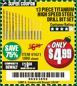 Harbor Freight 13 PIECE TITANIUM NITRIDE COATED HIGH SPEED STEEL DRILL BITS coupon