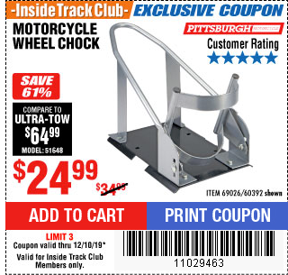 Harbor Freight MOTORCYCLE WHEEL CHOCK coupon