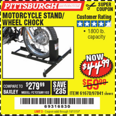 Harbor Freight MOTORCYCLE STAND/WHEEL CHOCK coupon