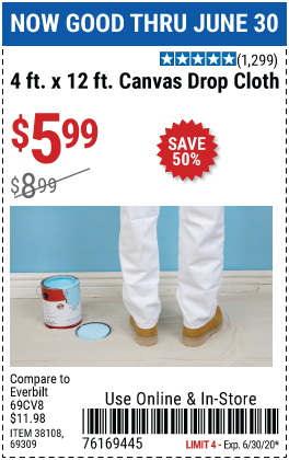 Harbor Freight 4 FT. x 12 FT. CANVAS DROP CLOTH coupon