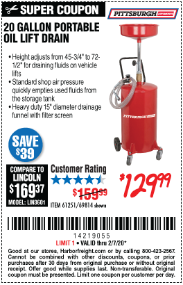 Harbor Freight 20 GALLON PORTABLE OIL LIFT DRAIN coupon