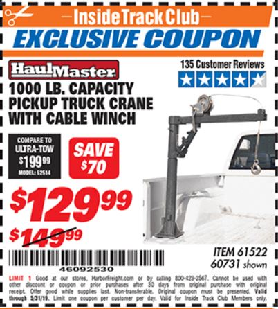 www.hfqpdb.com - 1/2 TON CAPACITY PICKUP CRANE WITH CABLE WINCH Lot No. 61522/60731/37555