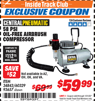 Harbor Freight 58 PSI OILLESS AIRBRUSH COMPRESSOR coupon