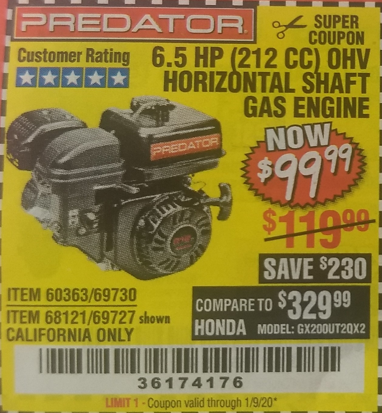 Harbor Freight 6.5 HP (212 CC) OHV HORIZONTAL SHAFT GAS ENGINES coupon