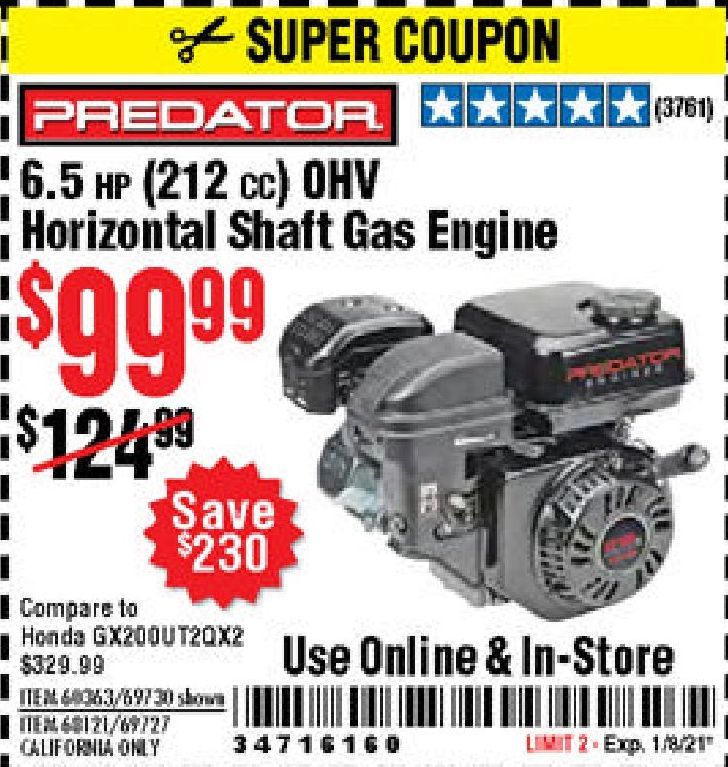 Harbor Freight PREDATOR 6.5 HP (212 CC) OHV HORIZONTAL SHAFT GAS ENGINES coupon