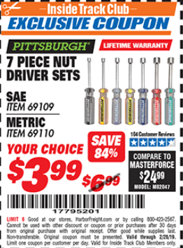 Harbor Freight 7 PIECE NUT DRIVER SETS coupon