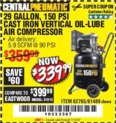 Harbor Freight 2 HP, 29 GALLON 150 PSI CAST IRON VERTICAL AIR COMPRESSOR coupon