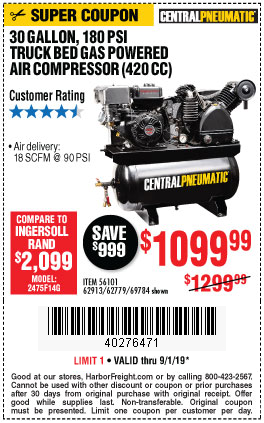 Harbor Freight 14 HP, 30 GALLON, 180 PSI TRUCK BED GAS POWERED AIR COMPRESSOR (420 CC) coupon