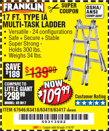 Harbor Freight 17 FT. TYPE 1A MULTI-TASK LADDER coupon