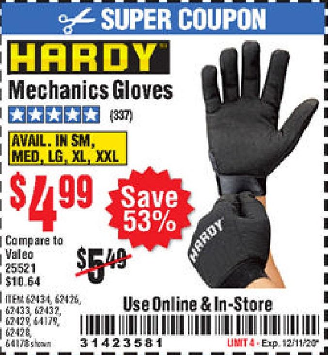 Harbor Freight MECHANIC'S GLOVES coupon