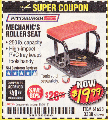 Harbor Freight MECHANIC'S ROLLER SEAT coupon