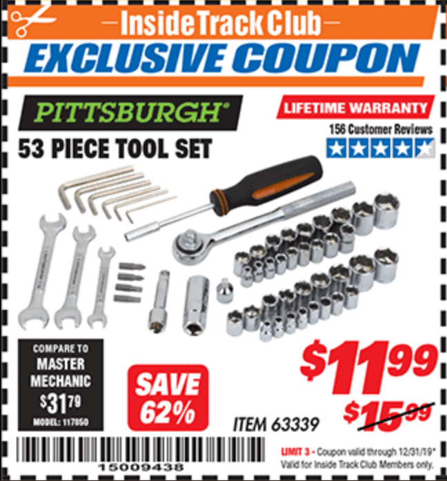 Harbor Freight 53 PIECE TOOL KIT coupon