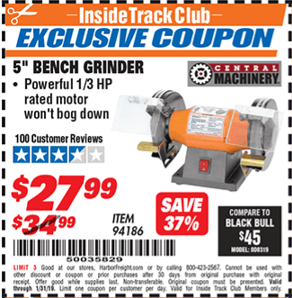 Harbor Freight Bench Grinder Coupon