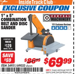 "Harbor Freight ITC Coupon 1"" BELT AND DISC COMBINATION SANDER Lot No. 34951/69033 Expired: 10/31/19 - $69.99"