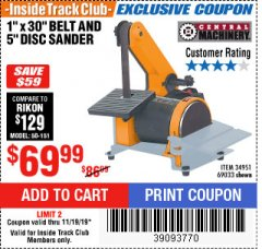 "Harbor Freight ITC Coupon 1"" BELT AND DISC COMBINATION SANDER Lot No. 34951/69033 Expired: 11/19/19 - $69.99"