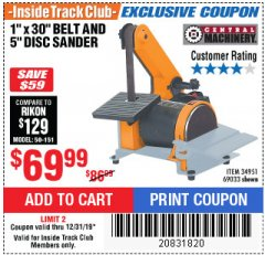 "Harbor Freight ITC Coupon 1"" BELT AND DISC COMBINATION SANDER Lot No. 34951/69033 Expired: 12/31/19 - $69.99"