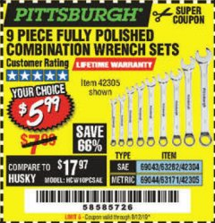 Harbor Freight Coupon 9 PIECE FULLY POLISHED COMBINATION WRENCH SETS Lot No. 63282/42304/69043/63171/42305/69044 Valid Thru: 8/12/19 - $5.99
