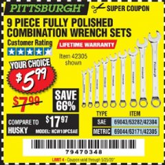 Harbor Freight Coupon 9 PIECE FULLY POLISHED COMBINATION WRENCH SETS Lot No. 63282/42304/69043/63171/42305/69044 EXPIRES: 6/30/20 - $5.99