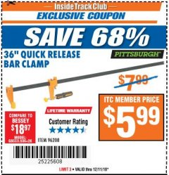 "Harbor Freight ITC Coupon 36"" QUICK RELEASE BAR CLAMP Lot No. 96208 Expired: 12/11/18 - $5.99"