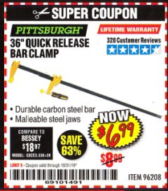 "Harbor Freight Coupon 36"" QUICK RELEASE BAR CLAMP Lot No. 96208 Valid Thru: 10/31/19 - $6.99"