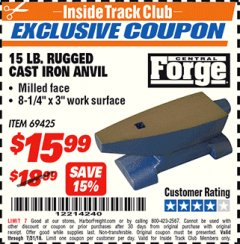 Harbor Freight ITC Coupon 15 LB. RUGGED CAST IRON ANVIL Lot No. 3999/69425 Expired: 7/31/18 - $15.99